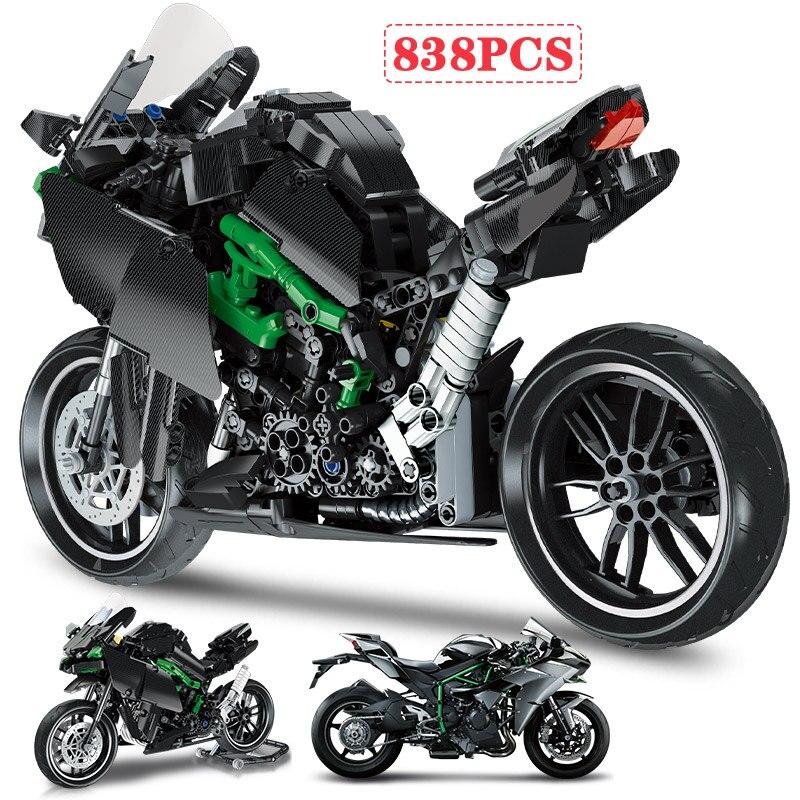 836pcs City Off-road Kawasaki Motorbike MOC Model Building Blocks Technic Racing Car Motorcycle Bricks Toys for Children Gift